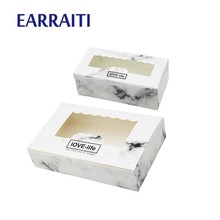 50 PCS Gift Box Packaging Paper Windows Boxes For Cookies Candy Sweet Marble Wedding Craft Cardboard Birthday