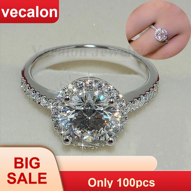 Vecalon Genuine Women Jewelry ring 2ct AAAAA Zircon Cz 925 Sterling Silver Engagement wedding Band ring for women Gift