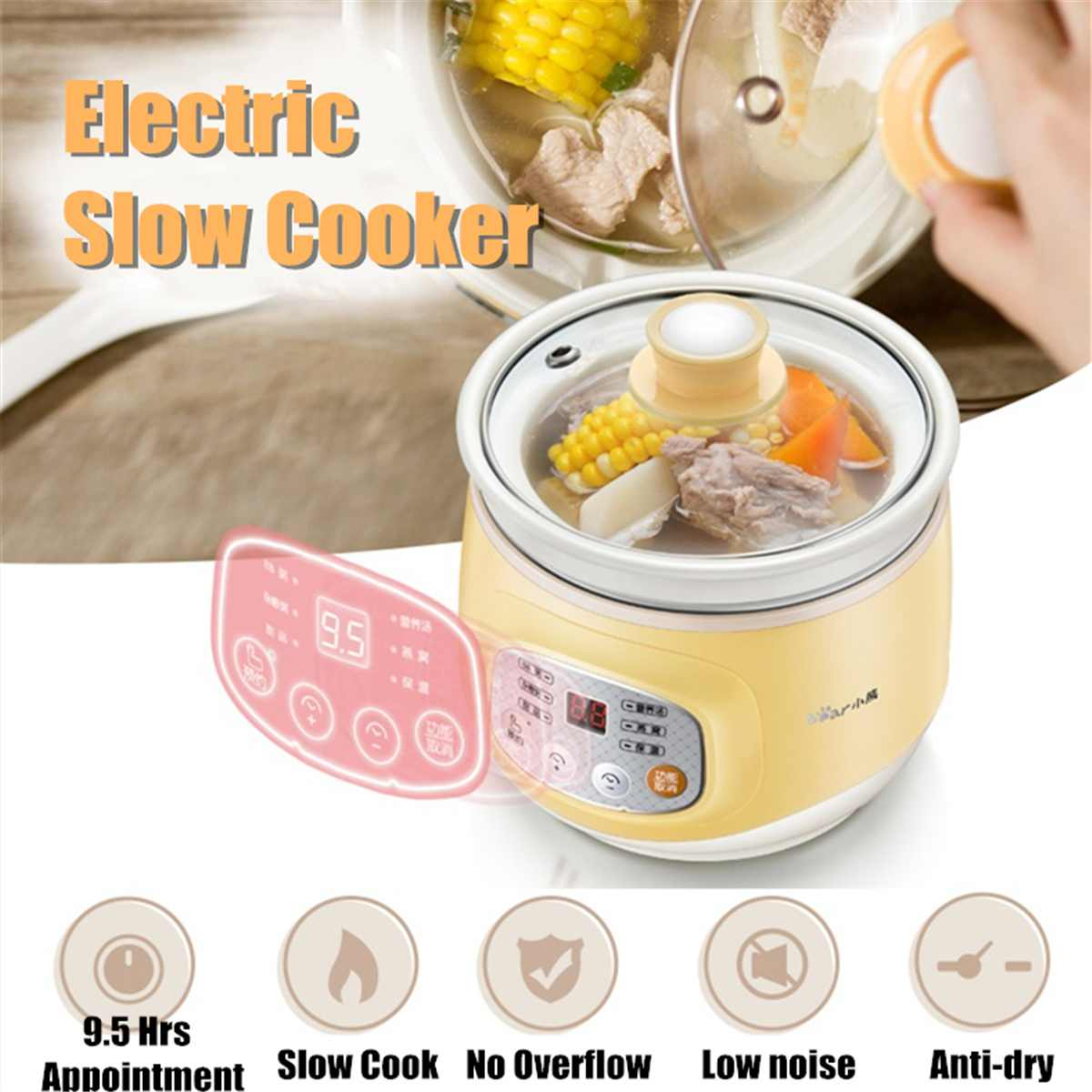 Electric Slow Cooker Ceramic Mini Fully Automatic Baby Soup Pot Congee Bird's Nest Stew Pot Multi function Safe Slow Cooker 100w