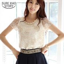 Популярные женские модные элегантные кружевные бисером вышитые официальные топы и блузки с цветами женские 3381