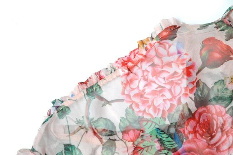 Kleid Mantel Druck Multi Designer Plissierte Runway Floral Mode Frauen Boho Langarm Seide Vacation Neue 2019 Rüsche 5Z7wxFwYq