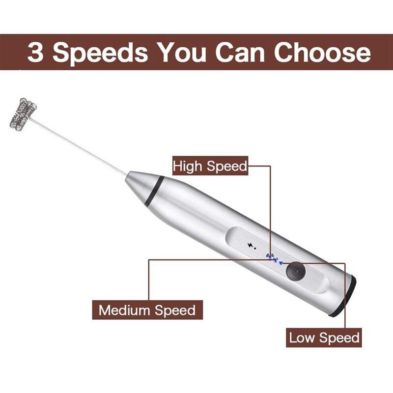 USB Datenkabel Milchaufschäumer Elektrisch 3-Speed Schaum Schneebesen Mixer Hand