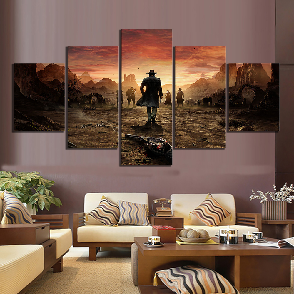 5 Piece Game Poster Desperados Scene Pictures HD Canvas Art Wall Paintings for Home Decor