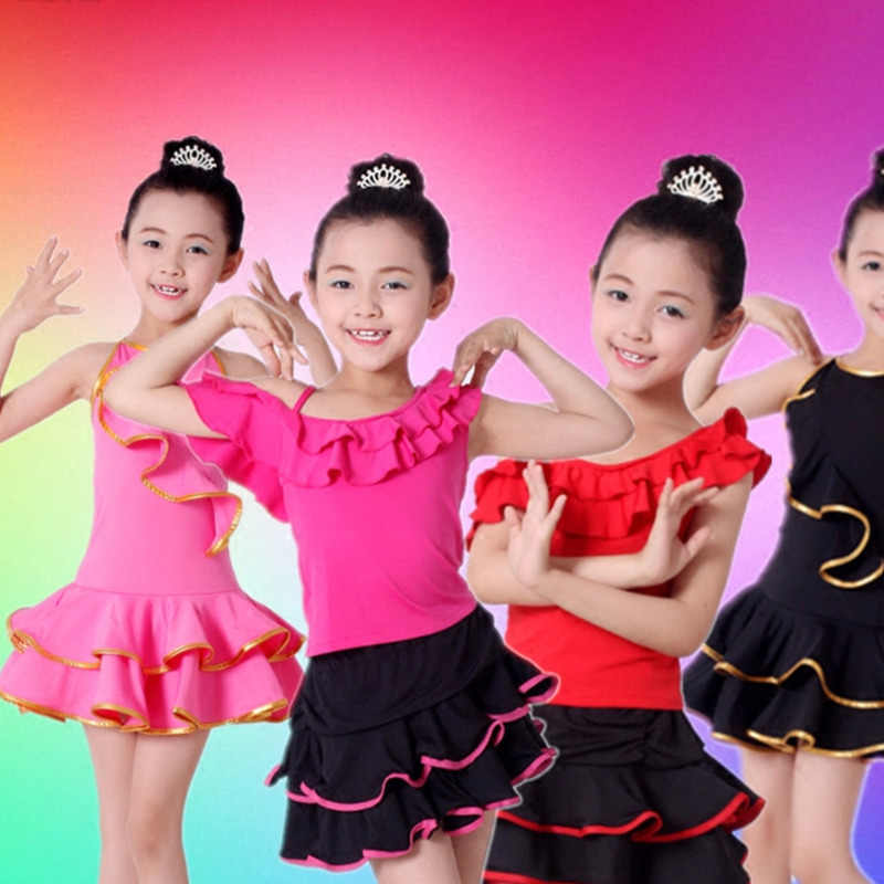 บอลรูม Latin Dance ชุดเด็กการแข่งขันเด็ก Salsa Tango Rumba samba สำหรับประสิทธิภาพเต้นรำฝึกกระโปรงชุด