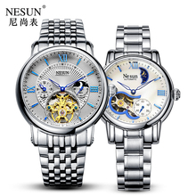 Switzerland Nesun Hollow Tourbillon Watch Men & Women Luxury Brand Automatic Mechanical Couple's Watches Sapphire Clock N9091L все цены