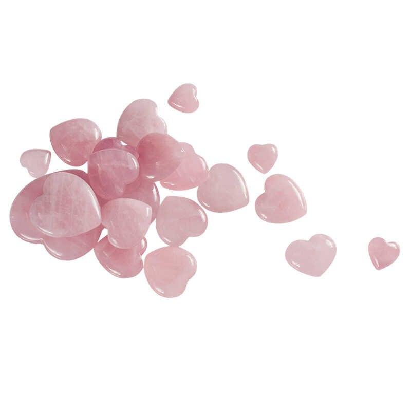 7 ขนาดปาล์ม Love DIY Healing พลอยแฟชั่นธรรมชาติ Rose Quartz หัวใจแกะสลักสีชมพูต่างหูสร้อยคอ 1pc ใหม่