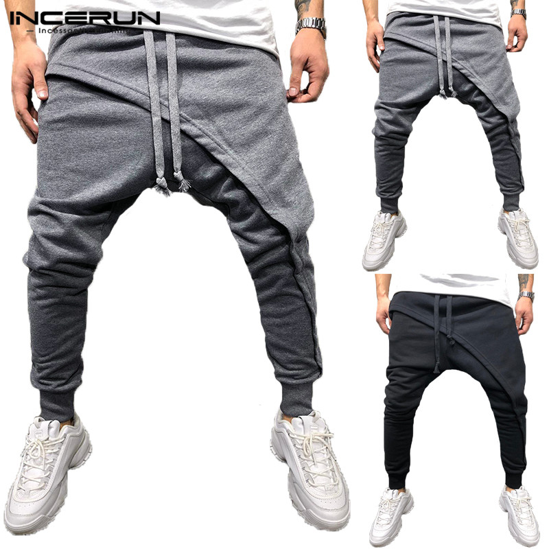 Brand Chic Harem Pant Big Cross-Pants Hiphop Sporting Pant Baggy Wide Legs Loose Elastic Cuff Joggers Sweatpants Plus Size 2XL