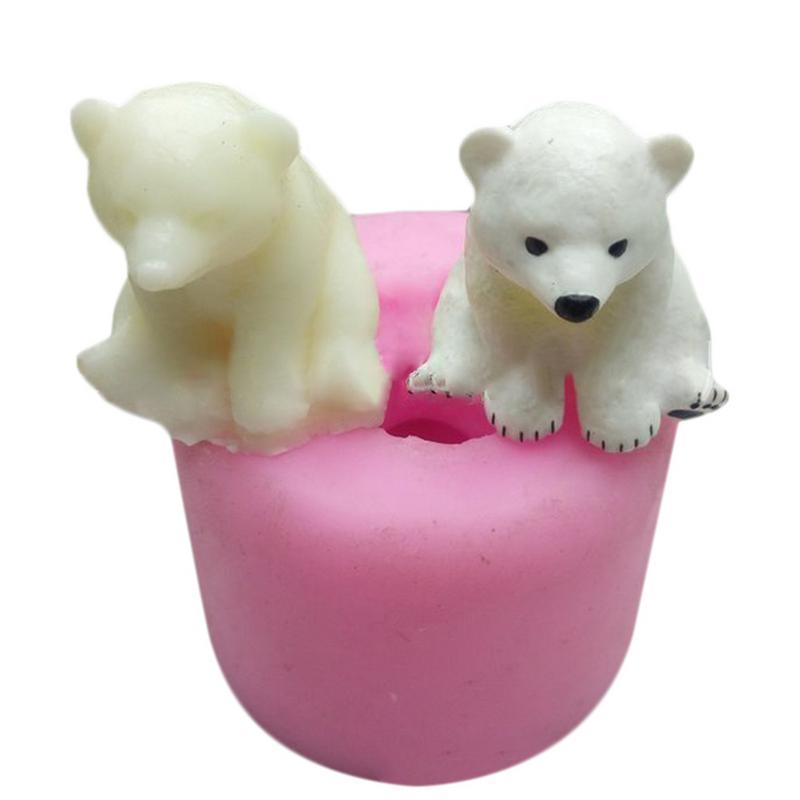 Craft 3D Polar Bear Aromatherapy Gypsum Car Display Candle Gypsum Mold Cake Decoration DIY Silicone Mould