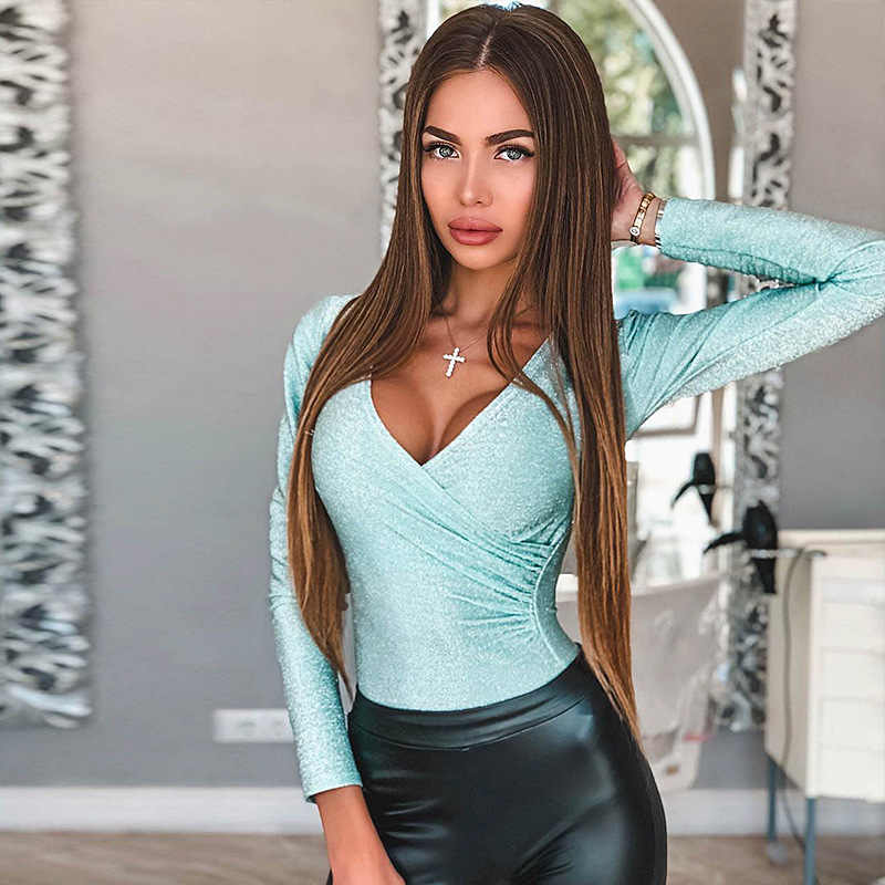 ... BOOFEENAA Silver Bling Pleated Long Sleeve Bodysuit Fashion Sexy V Neck  Bodycon Women Body Suit Tops ... f0ce53947