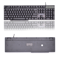SUNROSE Backlight USB Keyboard English with Russian Character Keyboard Gamer Floating 3 Color LED Backlit
