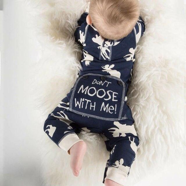 나와 함께 무스하지 마라 아기 소년 가을 겨울 옷을위한 긴 소매 파란 romper 인쇄