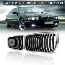 Пара Матовый Черный Хром Передняя решетка решетки для BMW E38 740i 740iL 750iL 4Dr 1999 2000 2001 стайлинга автомобилей гоночные решетки