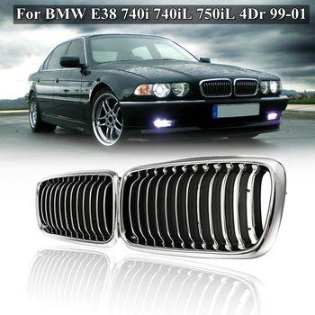זוג מט שחור Chrome קדמי גריל גריל עבור BMW E38 740i 740iL 750iL 4Dr 1999 2000 2001 רכב סטיילינג מירוץ גריל