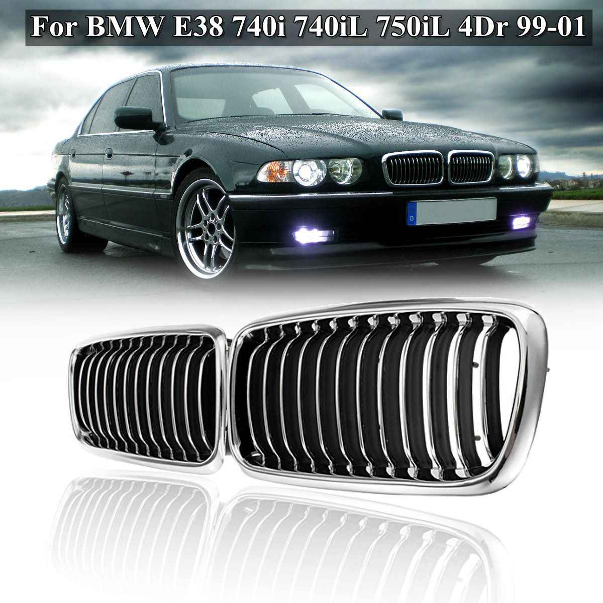 pair matte black chrome front grill grille for bmw e38 740i 740il 750il 4dr 1999 2000 [ 1200 x 1200 Pixel ]