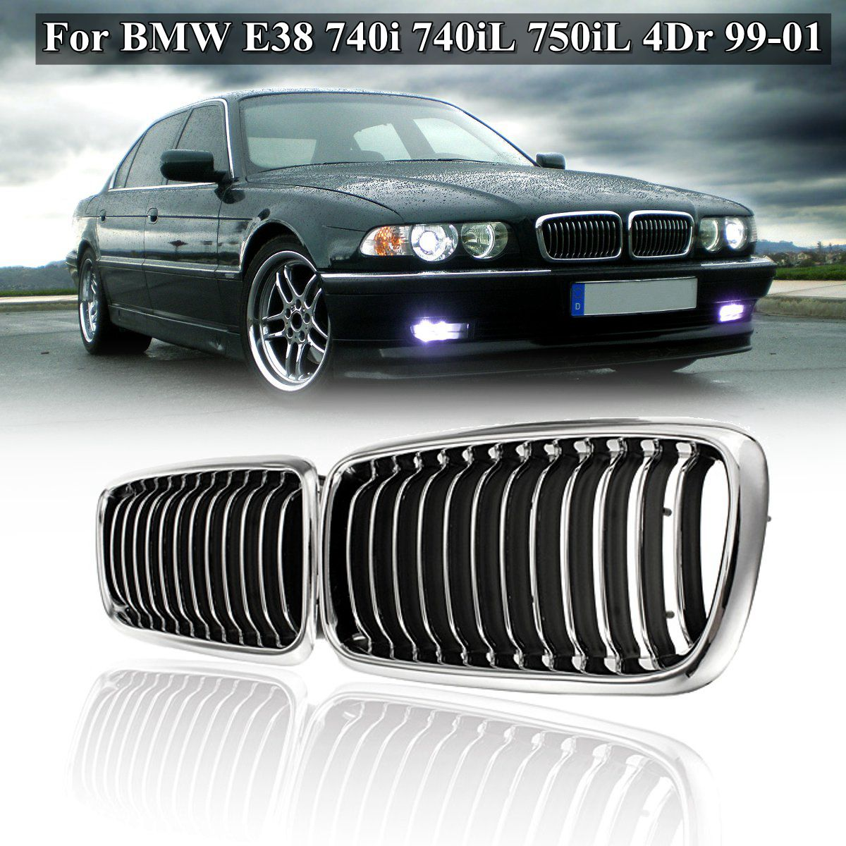 Pair Matte Black Chrome Front <font><b>Grill</b></font> Grille For <font><b>BMW</b></font> <font><b>E38</b></font> 740i 740iL 750iL 4Dr 1999 2000 2001 Car Styling Racing <font><b>Grills</b></font> image