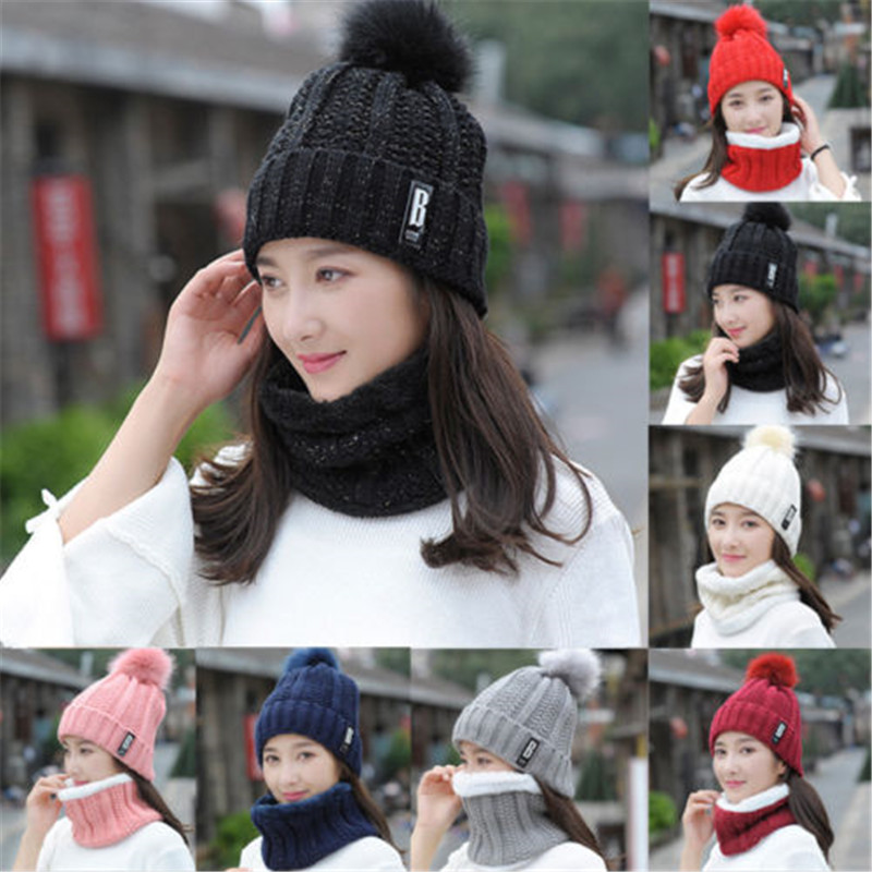 Popular Fashion Causal Thick Fall Ladies Hot Two Pcs Women Winter Scarf Hat Warm Set Solid Knitted Soft Cotton Bib Scarves
