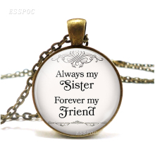Always My Sister Forever My Friend Necklace Pendant Sisters Jewelry Retro Style Glass Jewelry Accessories Sister Gift my sister page 9