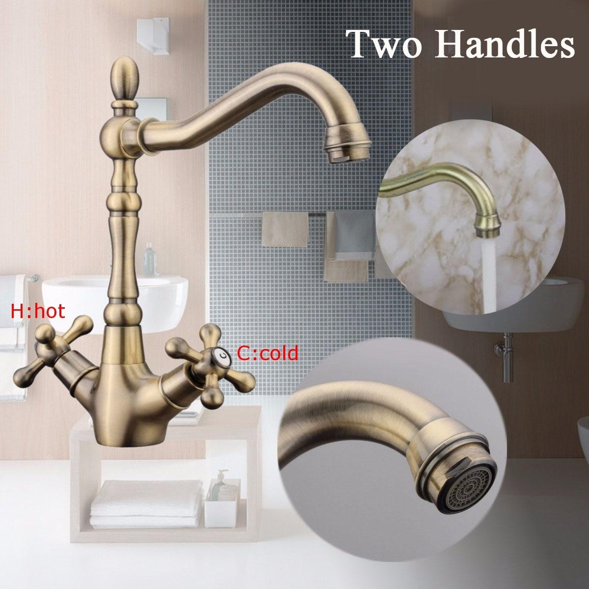 Xueqin Antique Bronze Copper Bathroom Double Handle Kitchen Basin Water Faucet 360Rotation Tap Sink Washbasin Spout Mixer Taps