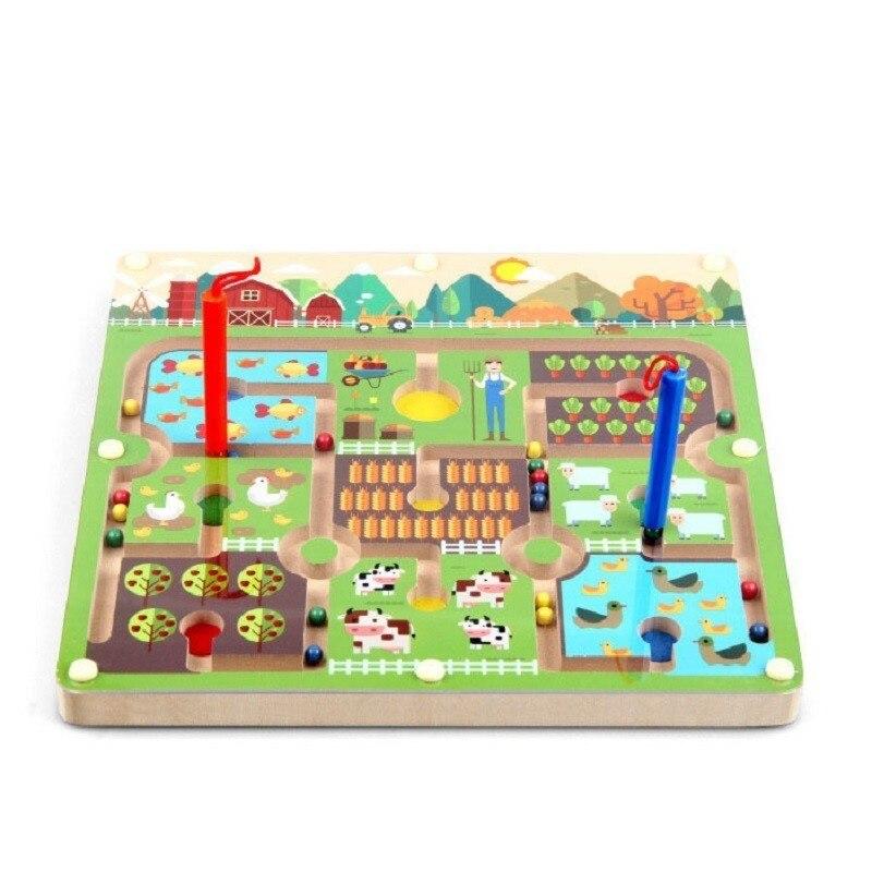 Stylo à perles magnétique labyrinthe thème de la ferme jeux Parent-enfant Puzzles Montessori en bois jouets éducatifs pour les enfants d'âge préscolaire - 2
