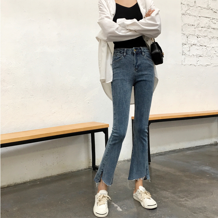 Vintage Fashion Jeans Casual High Waist Skinny Jeans Denim Flare Pants Spring Summer Woman Trousers in Jeans from Women 39 s Clothing
