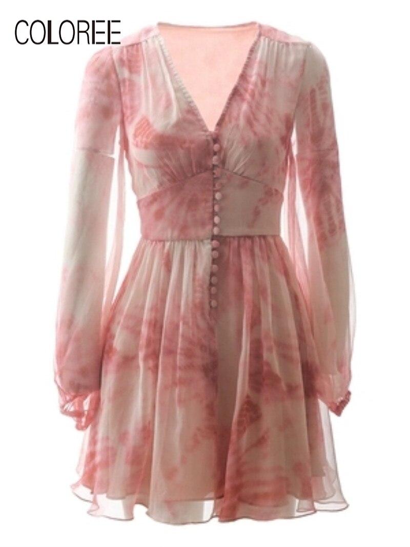 High Grade Mini Dress 2019 Summer Pink Flower Print V-Neck Single-breasted Dress Lantern Sleeve Elegant Sweet Dress Vestidos
