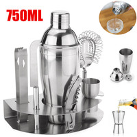 750MLStainless Steel Silver Cocktail Wine Beer Drink Mixer Tool Sets Shakers Bar Mixer Kit Drink 7 Pieces Bar Tools