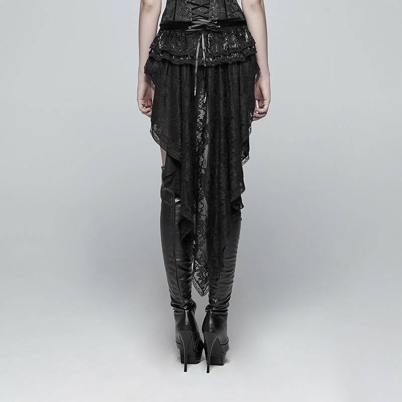 Панк Rave Для женщин Lolia Lace up Lace Hem Velvet шорты с длинными оборками WK354XDF - 3
