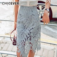 CHICEVER Sweet Lace Hollow Out High Waist Women Skirt Loose Slim A line Ankle length Female Skirts 2019 Fashion Korean New