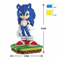 hot LegoINGlys creators Japan Anime game image Hedgehog Sonic micro diamond building blocks model nanoblock MOC brick toys gift