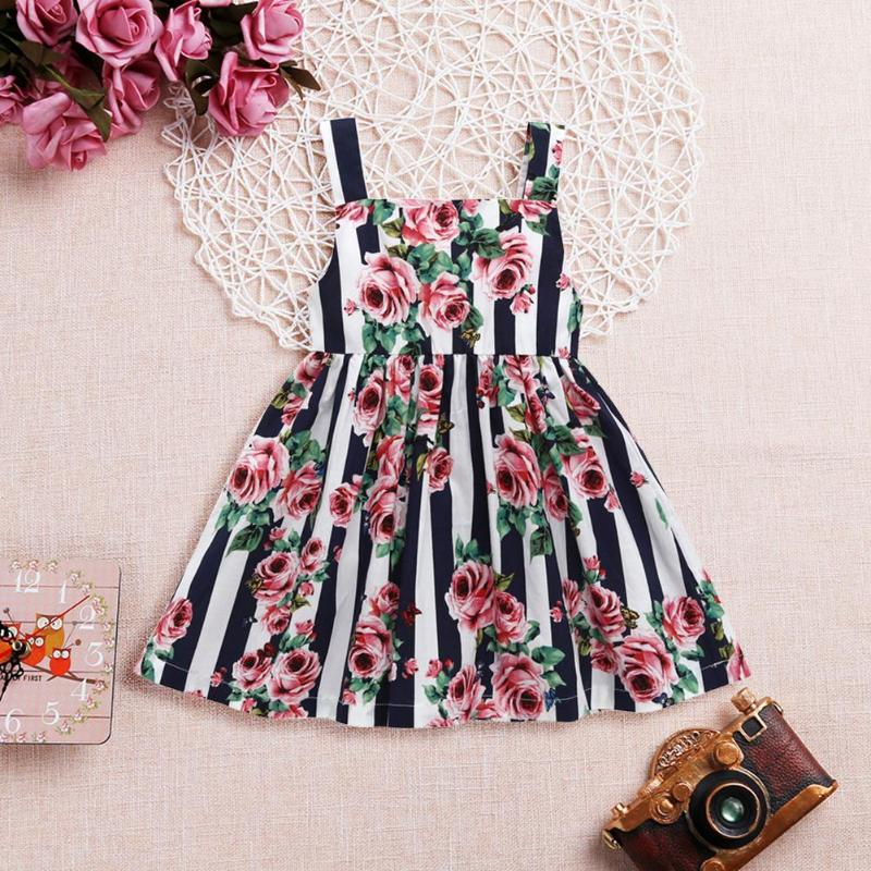 Baby Girls Summer Floral Print Sling Dress Cute Princess Back Zipper Fashion Holiday A-line Dresses Lovely Spring Dress For Girl