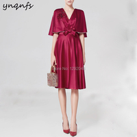 YNQNFS MD402 Detachable Cape Shawl Jacket Half Sleeves 2 Piece Short Mother of the Bride Dresses Cocktail Dress Evening Gowns