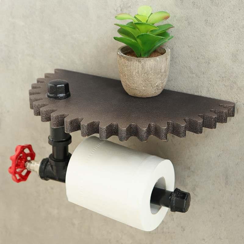 Retro Industrial Style Bathroom Toilet Paper Holder Roller Wood Gear Wall Shelf Paper Holder Wall Mount Metal WC Paper Rack New