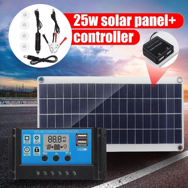 12V 25W çift USB GÜNEŞ PANELI ile araba şarjı + 10/20/30/40A USB güneş enerjisi şarj cihazı denetleyici açık kamp için led ışık