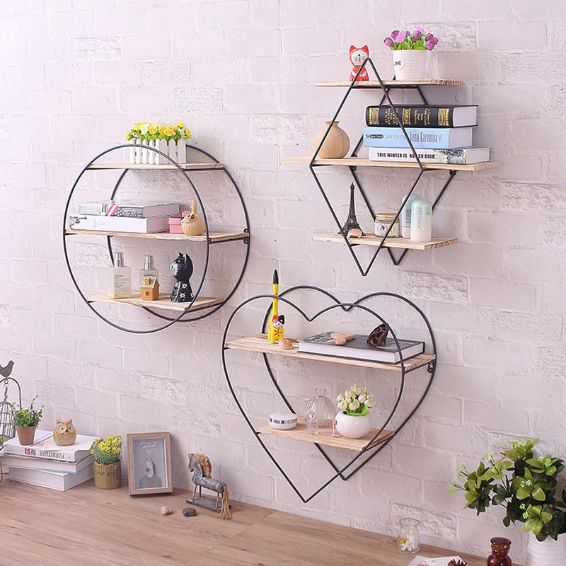 Nordic Iron Art Wooden Wall Hanging Rack Shelving Bracket Retro Solid Wood Wall Home Wall Decoration Storage Organizer