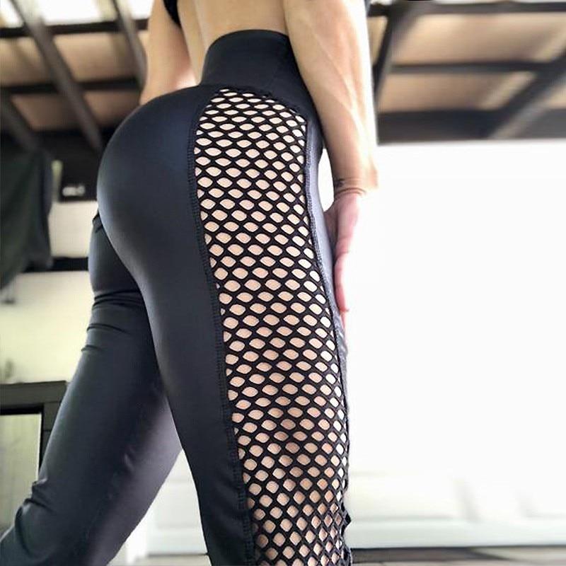 Women Wide High Waist Leggings Fitness Push Up Legging Pants Mesh Patchwork Fashion Female Black Workout Legging Femme Xlarge