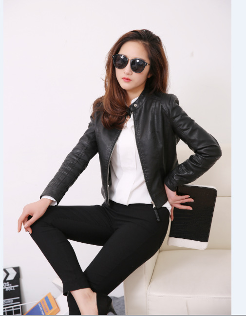 2019 European Style O Neck Pu   Leather   Jacket New Fashion Motorcycle   Leather   Outwear Women Slim Biker Coat Basic Streetwear
