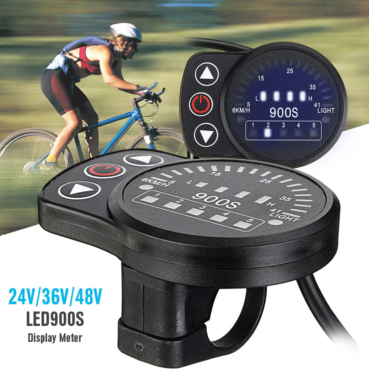 Precise Ebike Led Display Electric Bicycle Control Panel Electric Scooter Display Meter Intelligent 24v/36v/48v Kt-led900s Bike Automobiles & Motorcycles Accessories