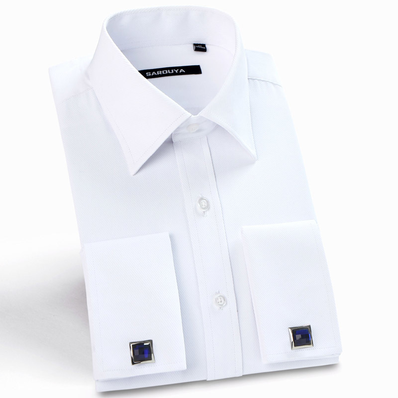 Mens Luxury French Cuff Solid Dress Shirts Spread Collar Long Sleeve Regular Fit Formal Business Twill Shirt With Cufflinks