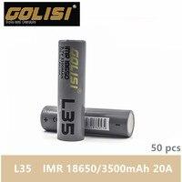 50 шт GOLISI L35 IMR 18650 3500 mah 3,7 V CDR 10A MAX 20A высокого стока E-CIG перезаряжаемый аккумулятор для VAPE фонарик налобный фонарь Игрушка