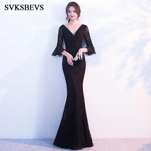 SVKSBEVS 2019 Sexy Beading Deep V Neck Lace Mermaid Long Dresses Elegant Party Flare Sleeve Backless Maxi Dress