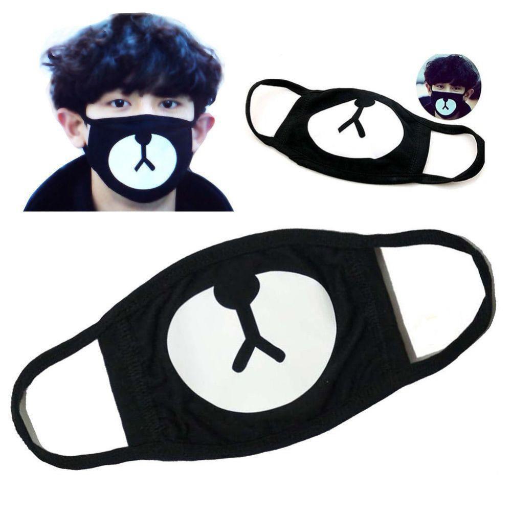 1 Pc Mode Hochwertige Glück Bär Schwarz Mund Maske Gleichen Stil Anti-staub Nette Mund Gesicht Atemschutz Komplette Artikelauswahl