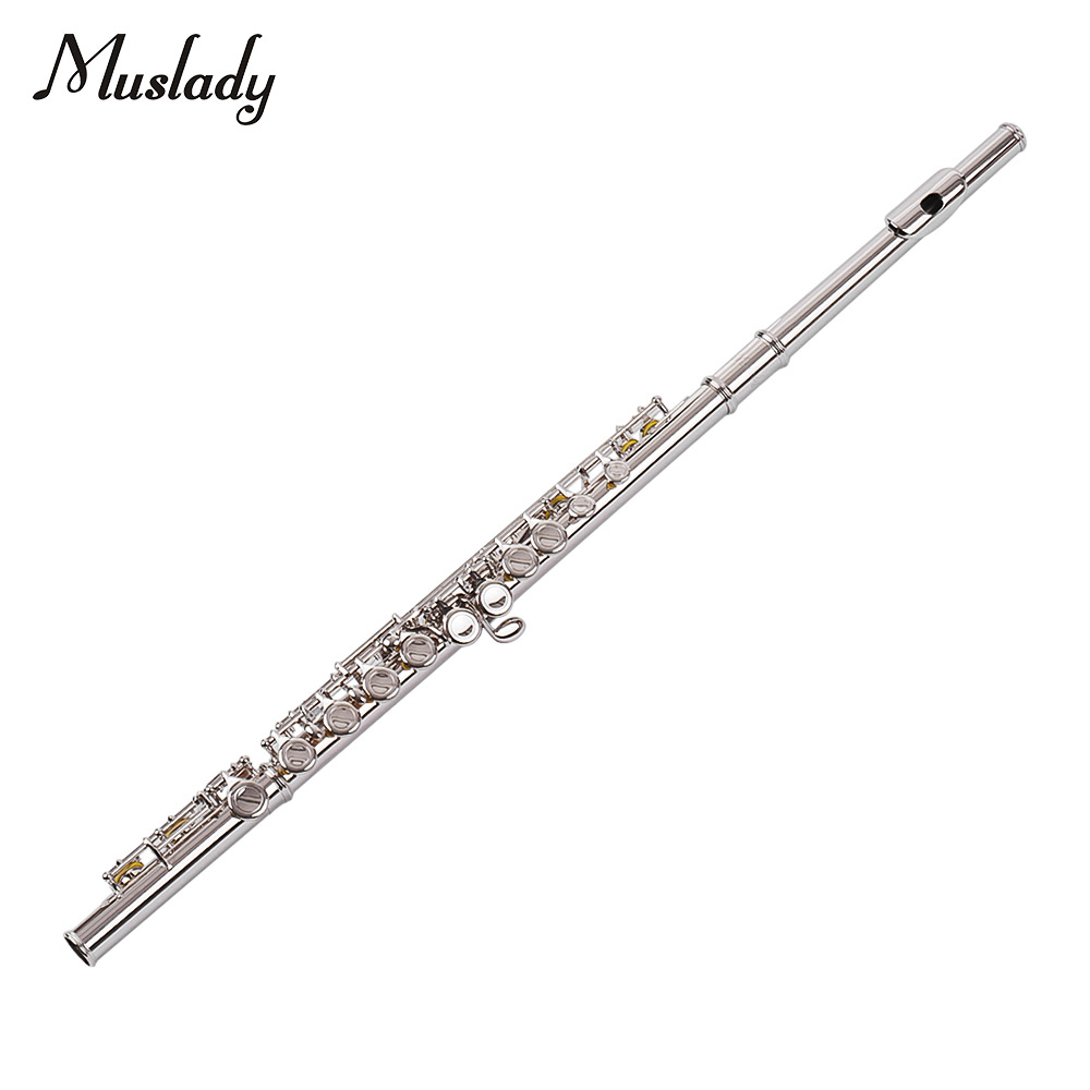 Muslady 16 trous trou fermé flûte C clé Flutes Cupronickel Instrument à vent avec chiffon de nettoyage tige gants tournevis