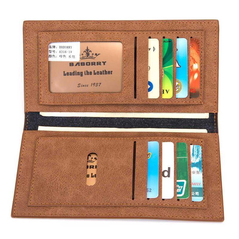 Повседневные мужские длинные тонкие бумажники кошельки из искусственной кожи минималистичные кошельки для кредитных карт тонкие клатчи бумажники однотонные серые