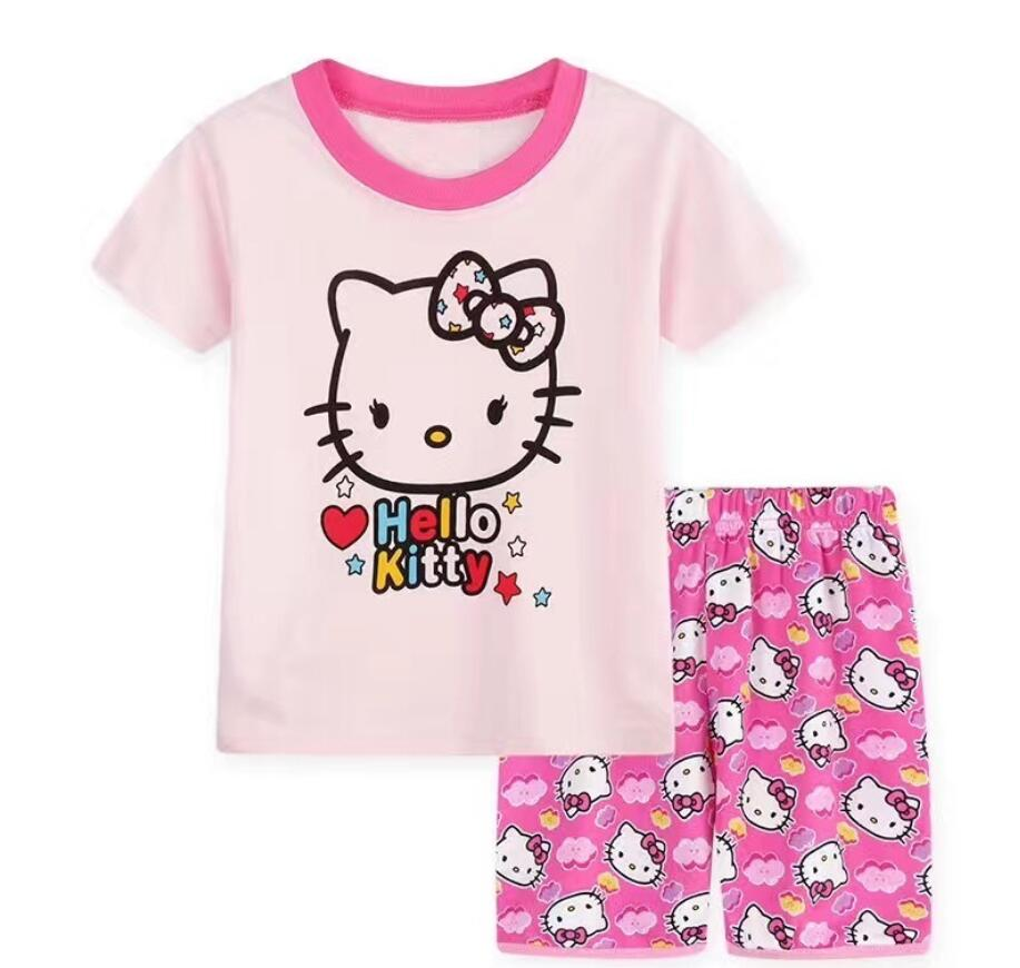2 Pcs Cartoon Sommer Pyjamas Kurzarm Set Kinder Nachtwäsche T-shirt + Hosen Qw32 100% Garantie