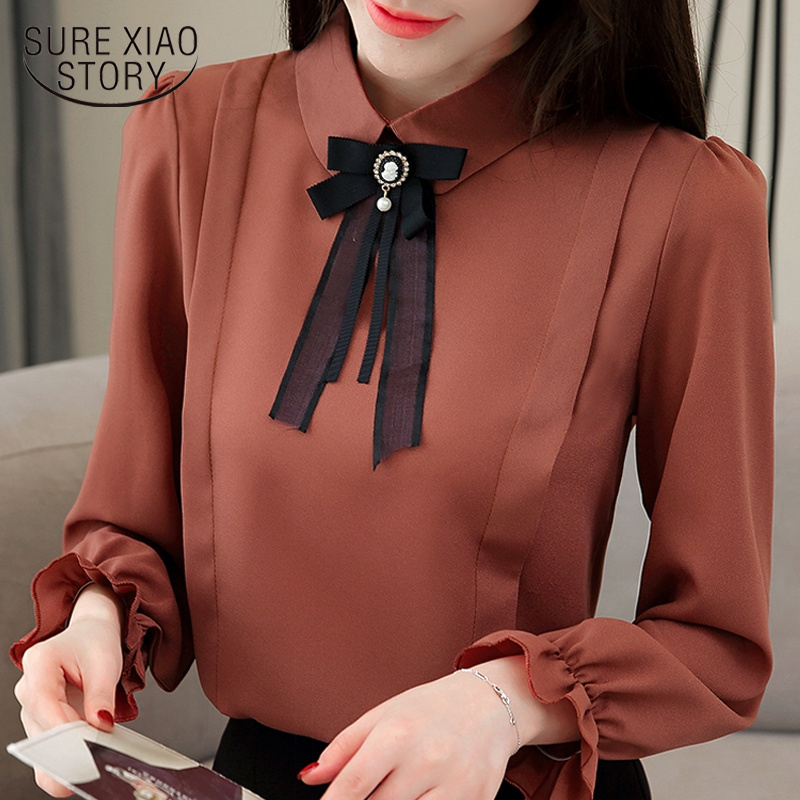 fashion spring women   blouses   2019 long sleeve women   shirts   Chiffon   Blouse     Shirt   plus size womens tops and   blouses   Blusas 1747 50