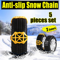 5pcs/lot Anti Skid Snow Chains Universal Car Suit Tyre Winter Roadway Safety Tire Chains Snow Climbing Mud Ground Anti Slip