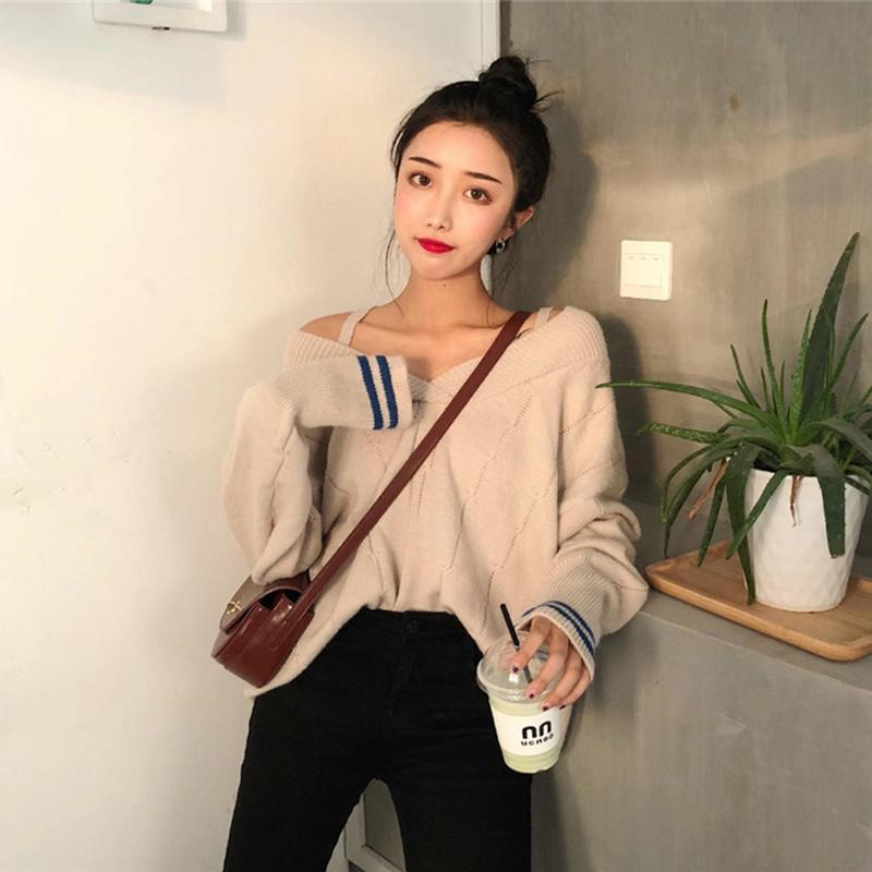 Japanese And Korean Chic Sexy Cute Temperament Knitwear Wear More Law Strapless V-neck French Pullover Sweater Women's Clothing