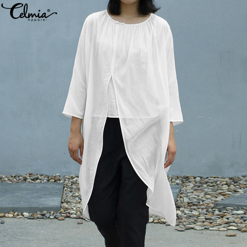 Celmia Vintage Summer Tops 2019 Women Linen Blouses High Split Casual Loose Asymmetrical Hem Pleated Shirt Long Blusas Plus Size