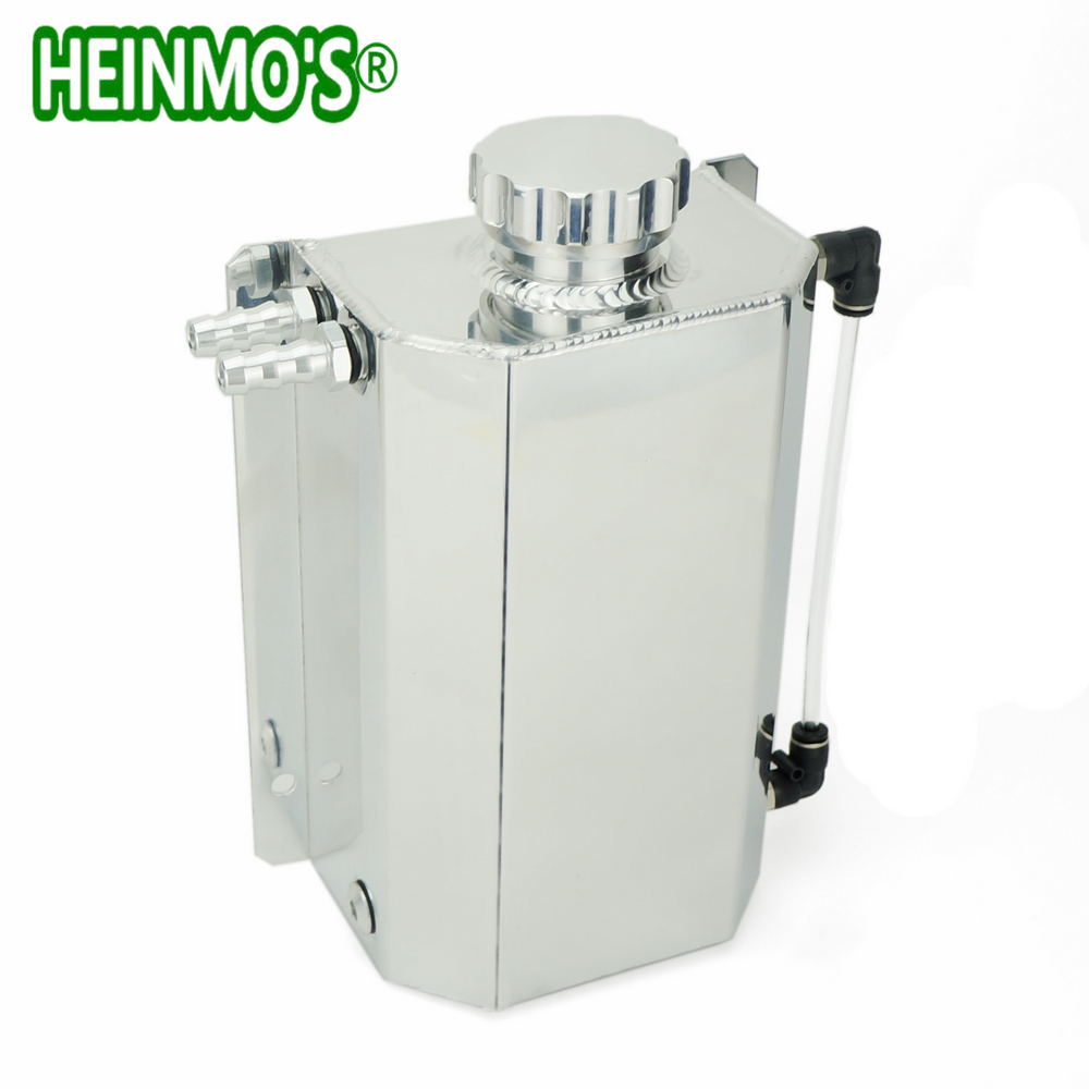 2L Polished Radiator Overflow Tank Can Header Water Coolant Expansion Tank Universal Tank Aluminum