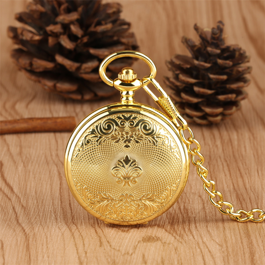 Luxury Gold Mechanical Pocket Watch Exquisite Design Hand Wind Pendant Watch Fob Pocket Chain For Men Women Reloj De Bolsillo